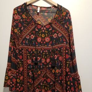 Xhilaration peasant Mid floral Dress